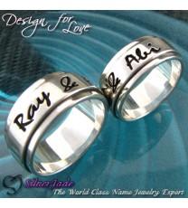 NCRB0035-凹字名字戒指