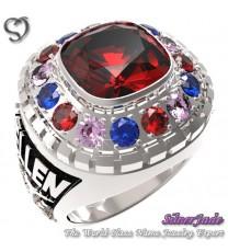 RG00008-D2-畢業戒指/班級戒指(8mm枕型鑽環繞鑽少女版)